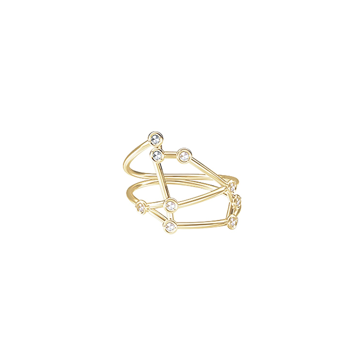 Gold & White Diamond Aries Constellation Ring by Jessie Ve for Broken English Jewelry