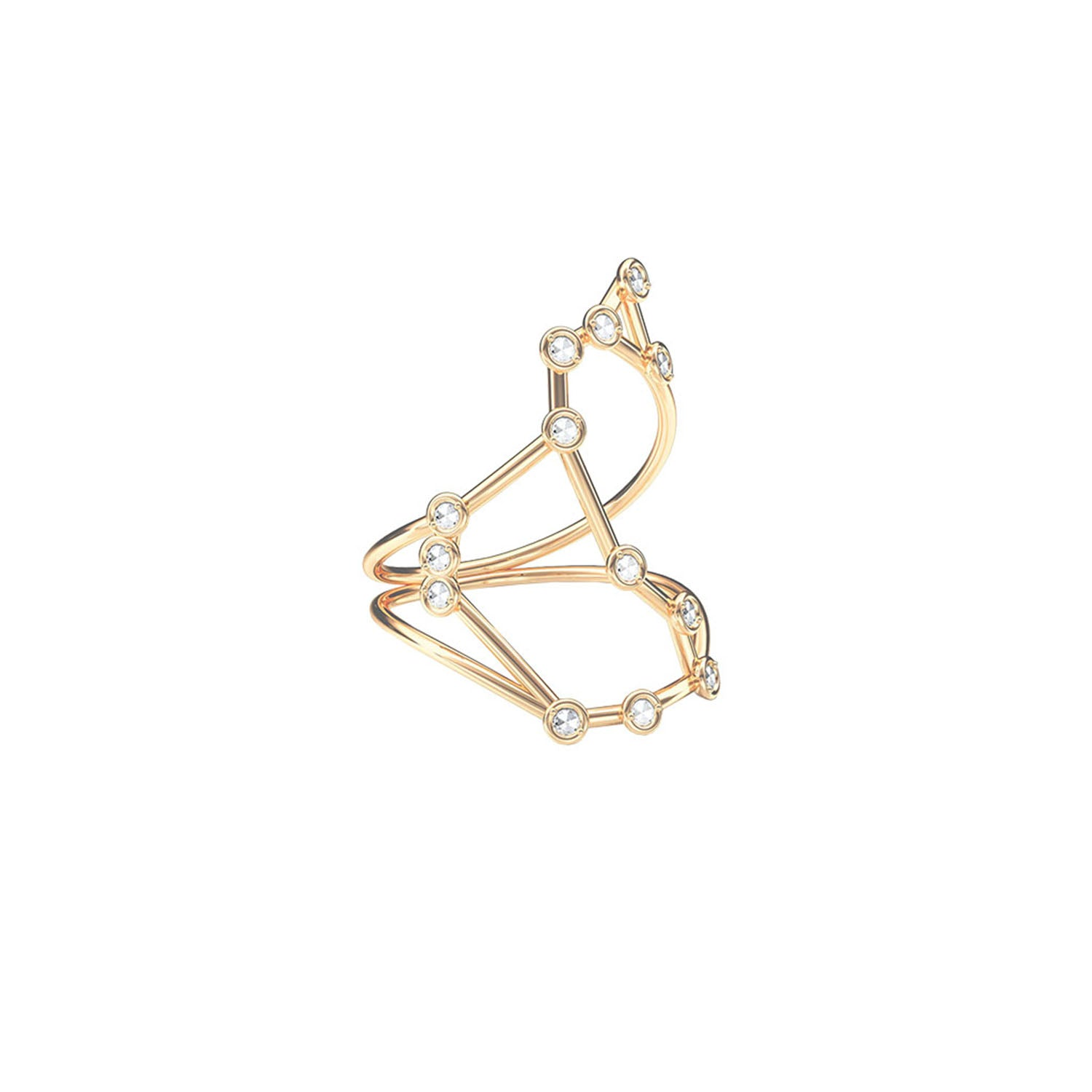 Gold & White Diamond Scorpio Constellation Ring by Jessie Ve for Broken English Jewelry
