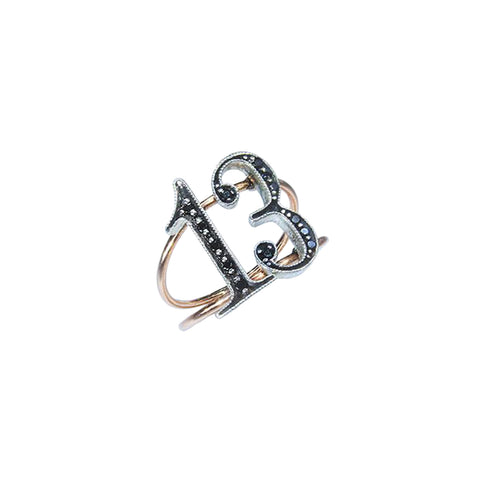 Gold & Black Diamond Double Digit Lucky Number Ring by Jessie Ve for Broken English Jewelry
