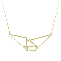 Gold & White Diamond Aries Constellation Necklace by Jessie Ve for Broken English Jewelry