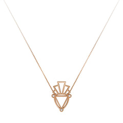 Gold & White Diamond Deco Logo Necklace by Jessie Ve for Broken English Jewelry