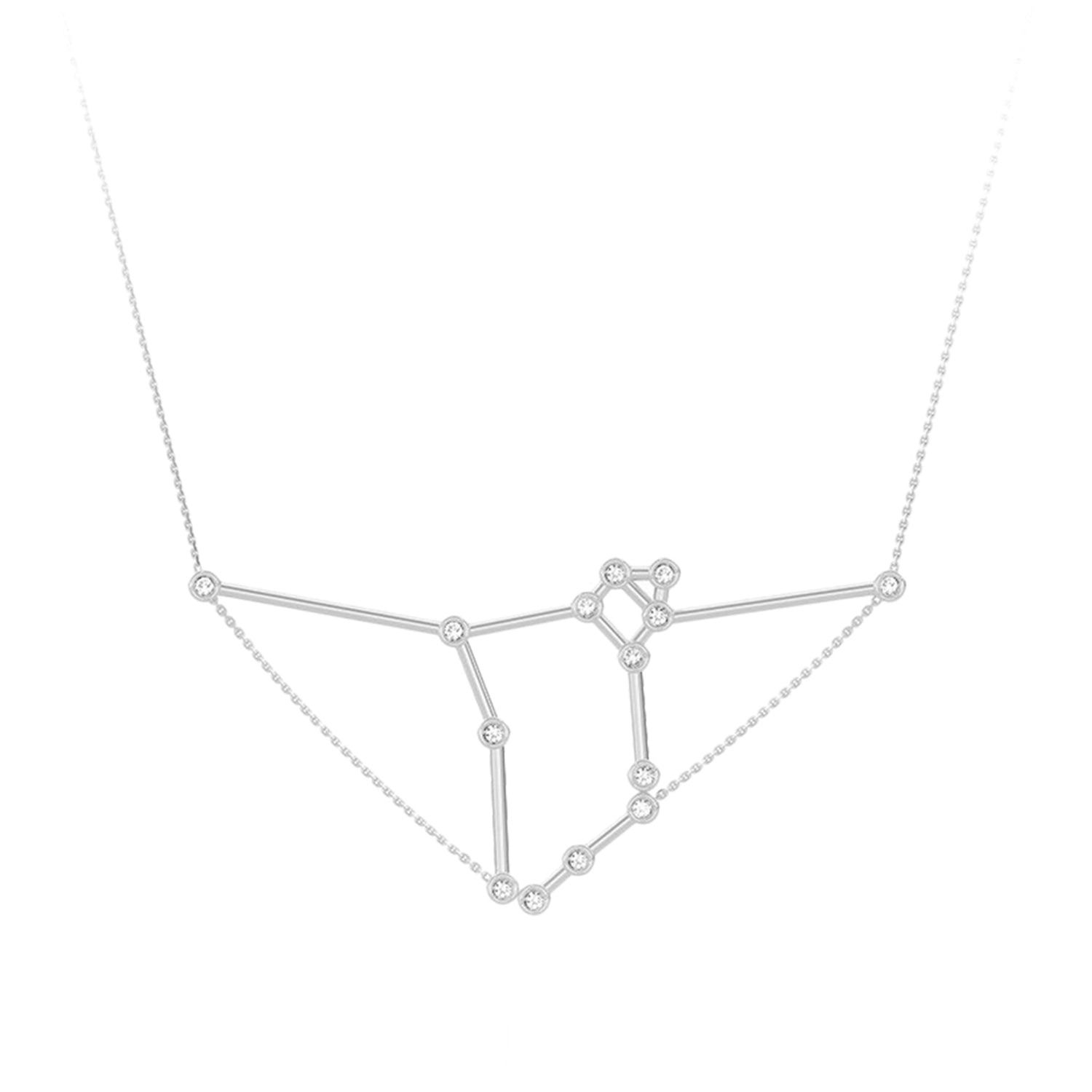 Gold & White Diamond Pisces Constellation Necklace by Jessie Ve for Broken English Jewelry