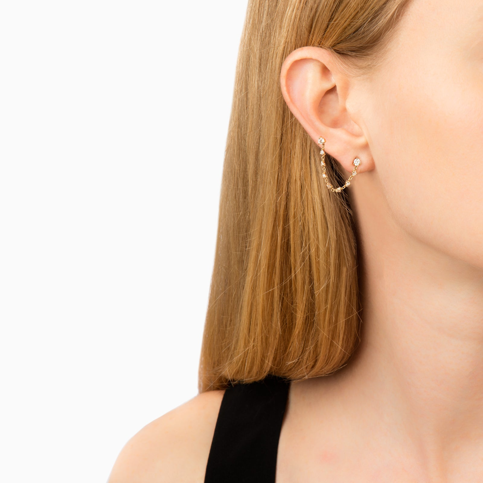 Carbon & Hyde Princess Ear Chain - Gold - Earrings - Broken English Jewelry