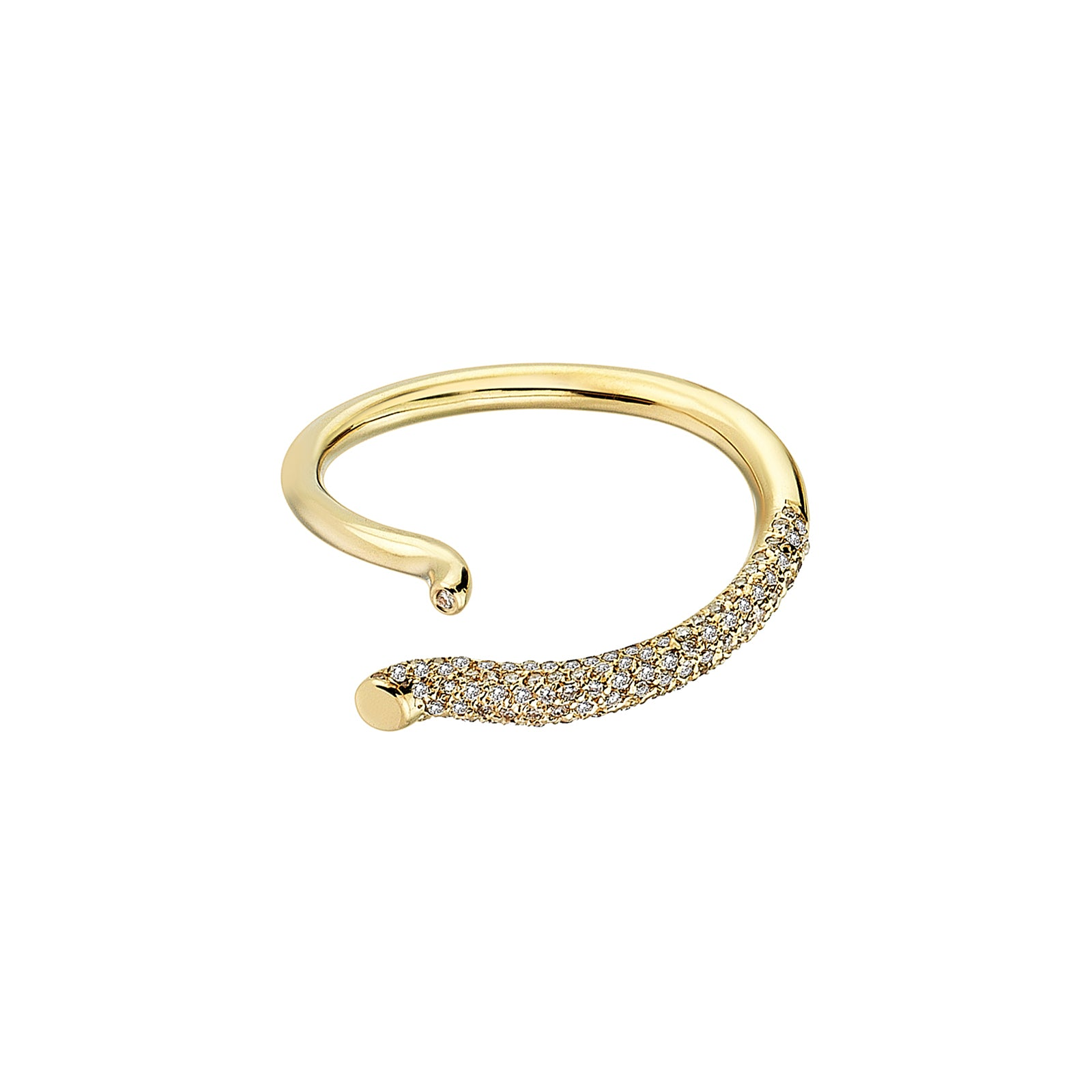 Kloto Duo Diamond Curve Ring - Yellow Gold - Rings - Broken English Jewelry
