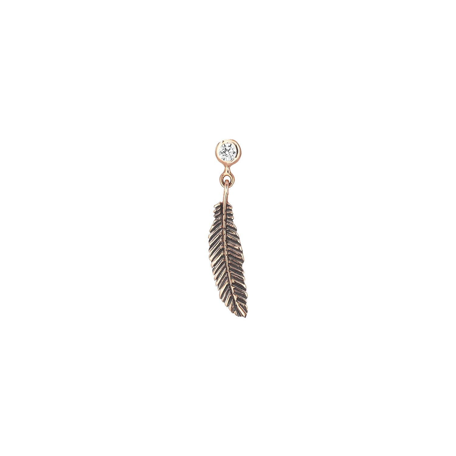 Feather Single Solitaire Earring by Kismet for Broken English Jewelry