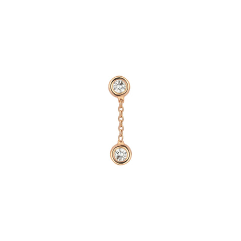 2 Solitaire Diamond Chain Earring by Kismet for Broken English Jewelry
