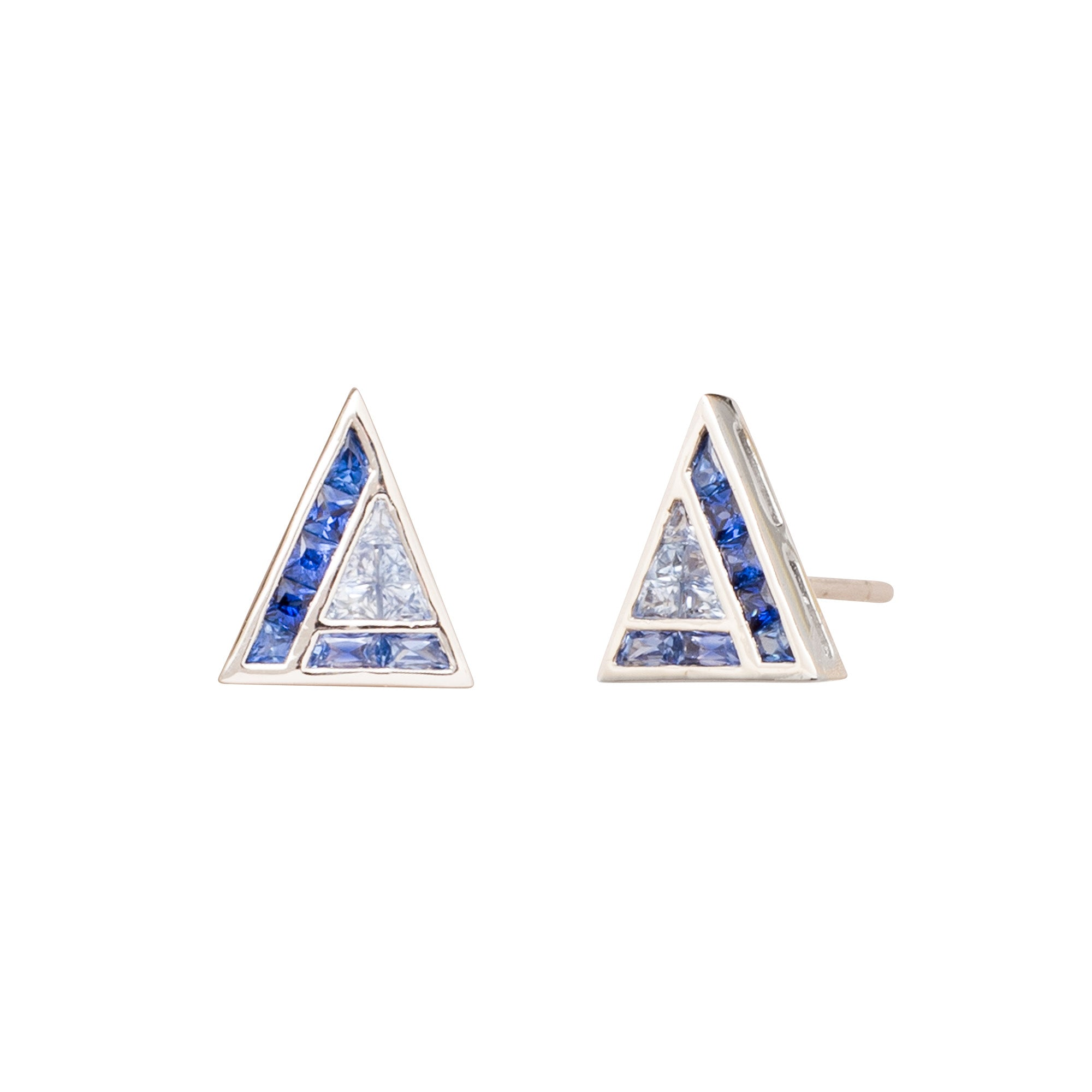 Blue Sapphire Triangle Stud by Kavant & Sharart for Broken English Jewelry