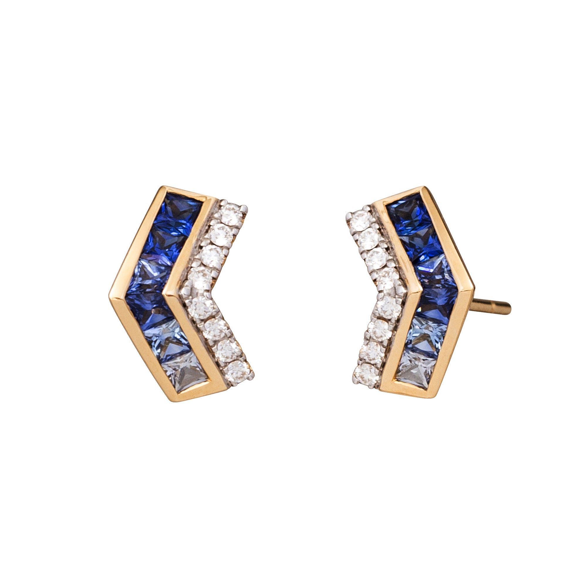Mini Sapphire & Diamond Origami Stud by Kavant & Sharart for Broken English Jewelry