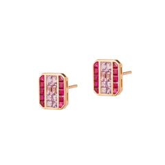 Ruby and Purple Sapphire Cushion Earrings by Kavant & Sharart for Broken English Jewelry