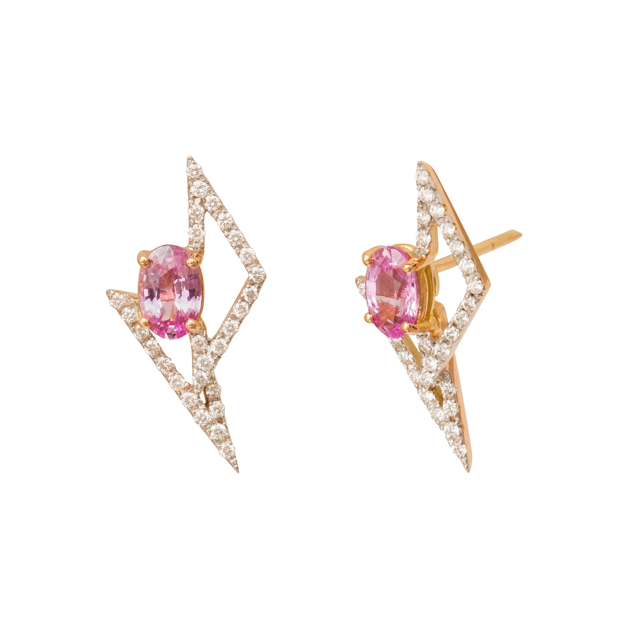 GeoArt Pink Sapphire Stud Earrings by Kavant & Sharart for Broken English Jewelry