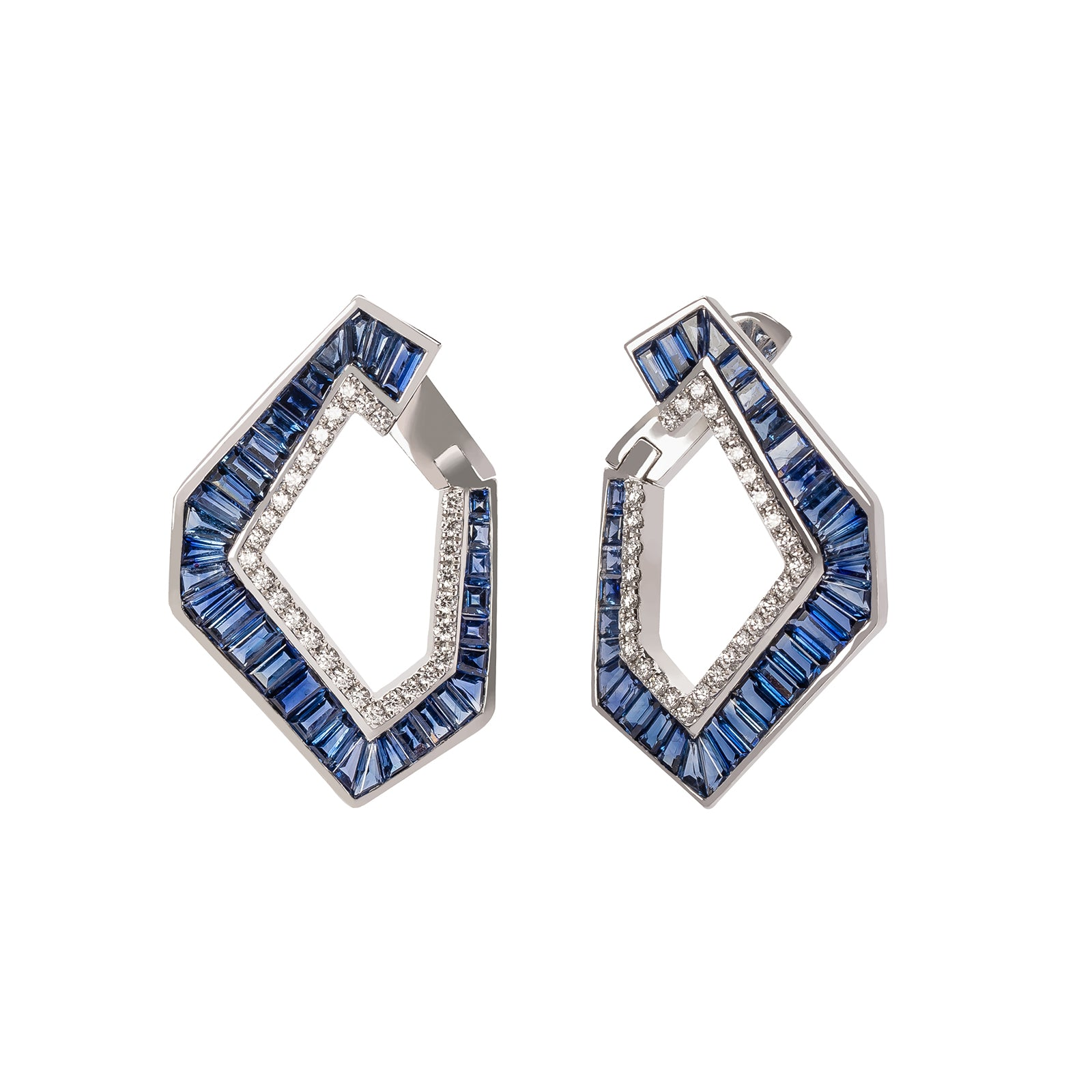 Kavant & Sharart Origami Large Link Earrings - Sapphire - Earrings - Broken English Jewelry