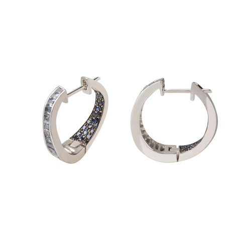 Small Talay Wave Twist Blue Sapphire Hoop Earrings  - Kavant & Sharart  - Earrings | Broken English Jewelry