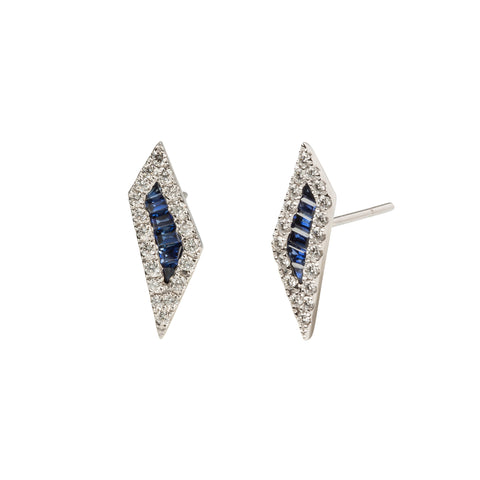 Blue Sapphire and Diamond Stud Earrings - Kavant & Sharart  - Earrings | Broken English Jewelry