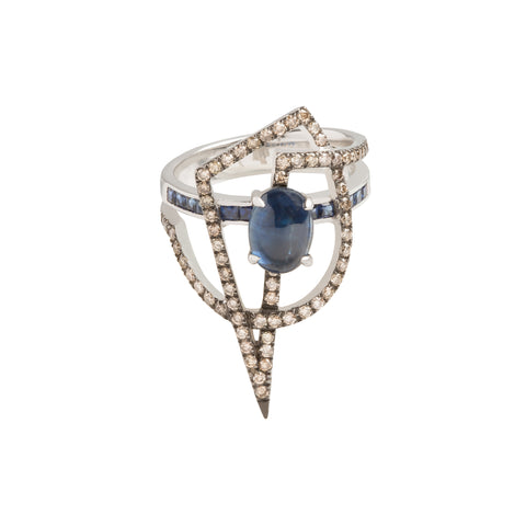 GeoArt Blue Sapphire and Brown Diamond Ring - Kavant & Sharart  - Rings | Broken English Jewelry