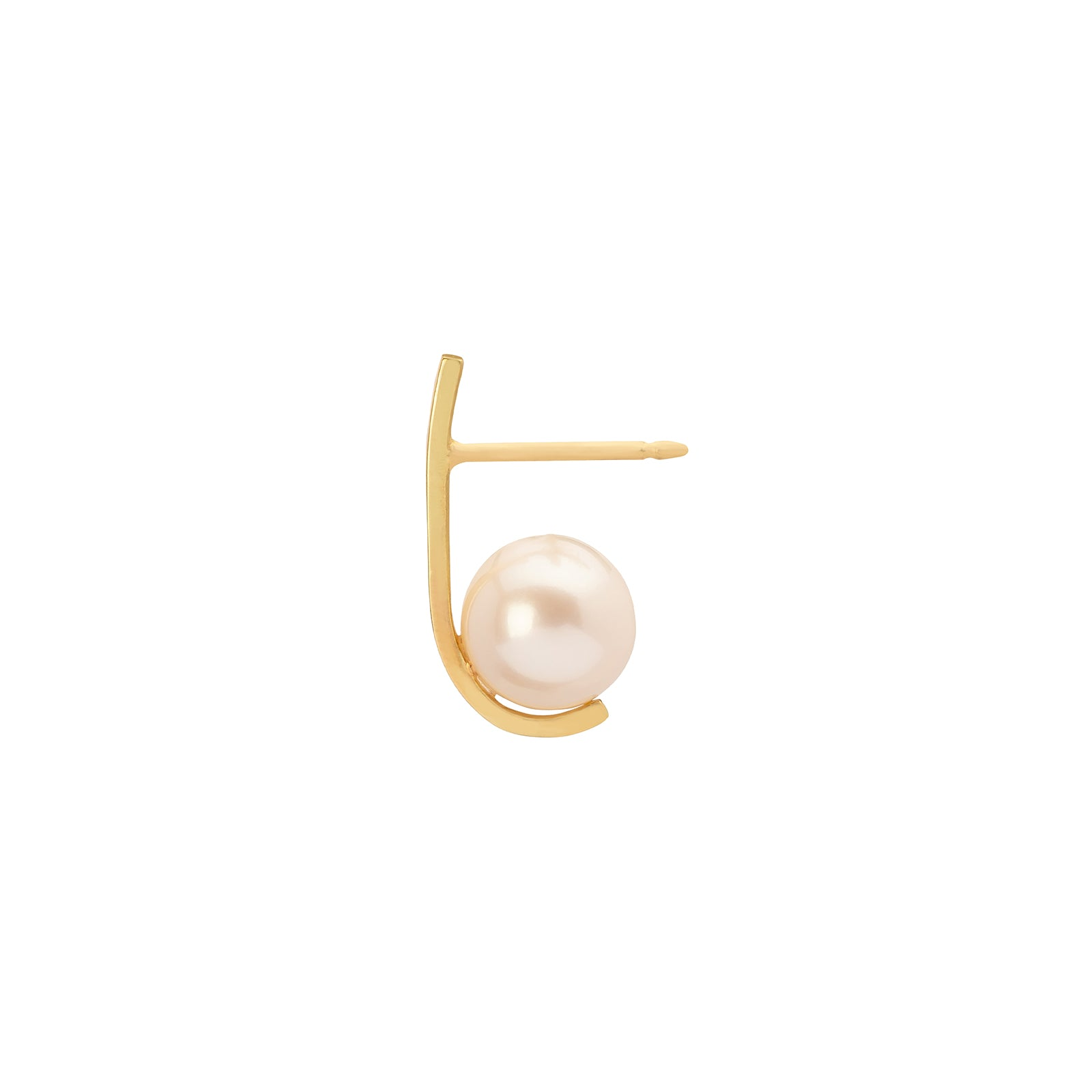 Katey Walker Pearl Curved Tucked Stud - Medium - Earrings - Broken English Jewelry