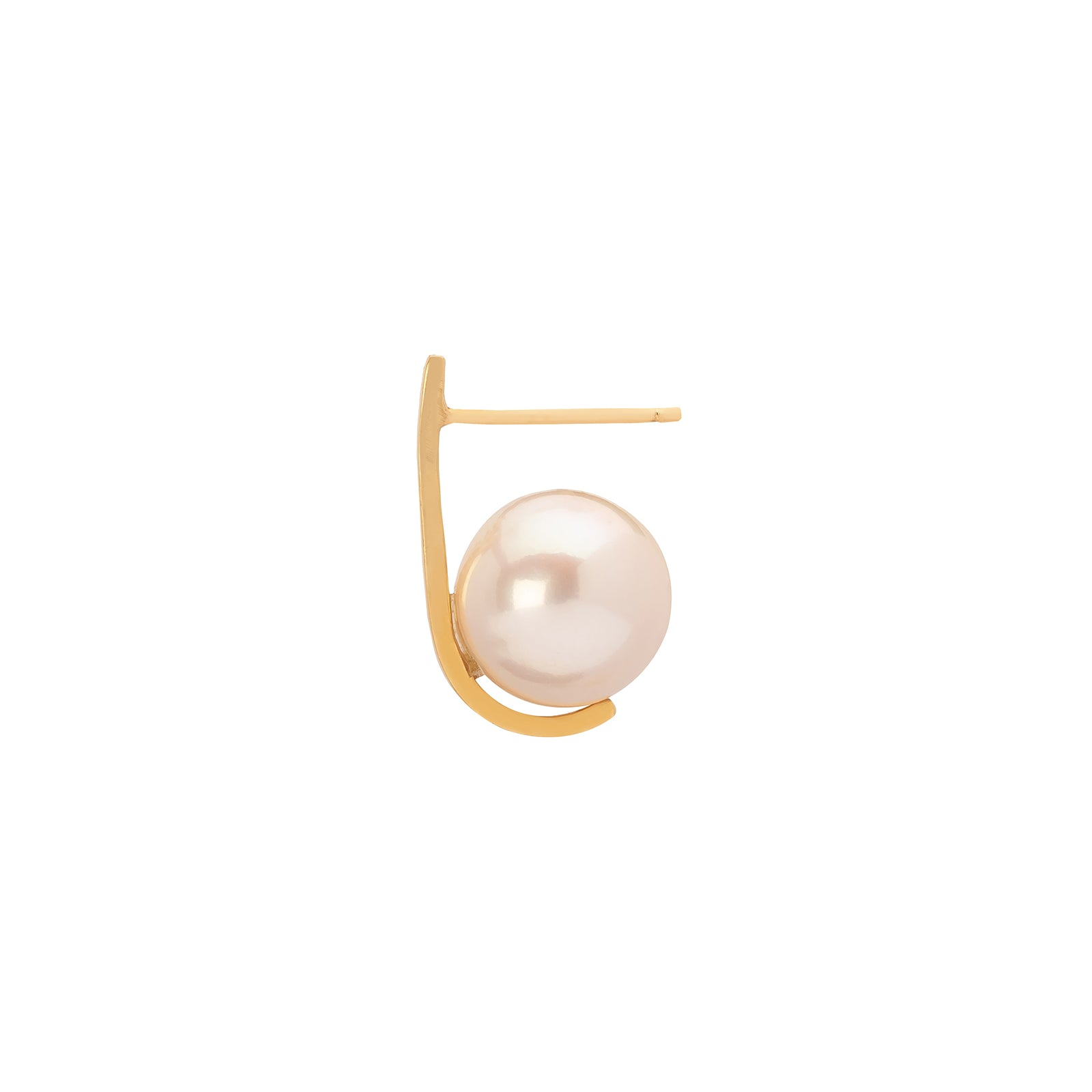 Katey Walker Pearl Curved Tucked Stud - Large - Earrings - Broken English Jewelry