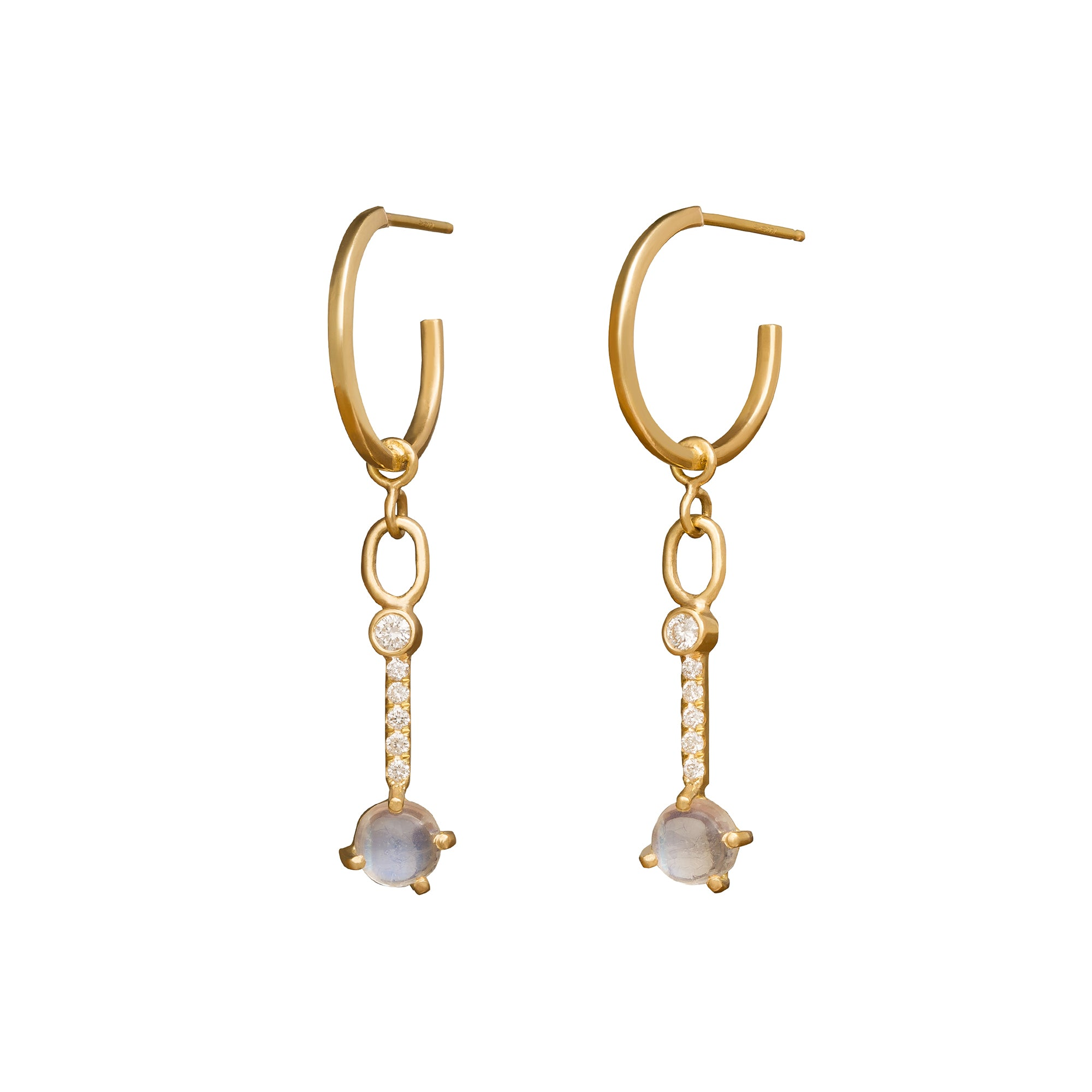 Katey Walker Moonstone Hoops - Earrings - Broken English Jewelry