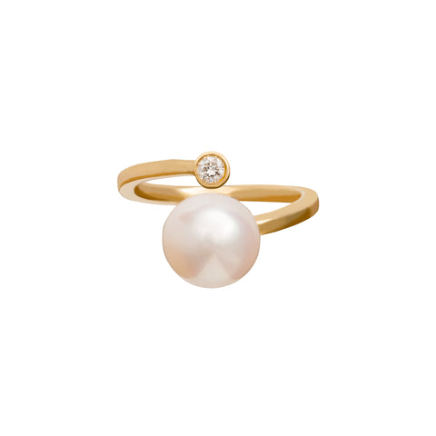 Floating Pearl & Diamond Ring - Katey Walker - Rings | Broken English Jewelry