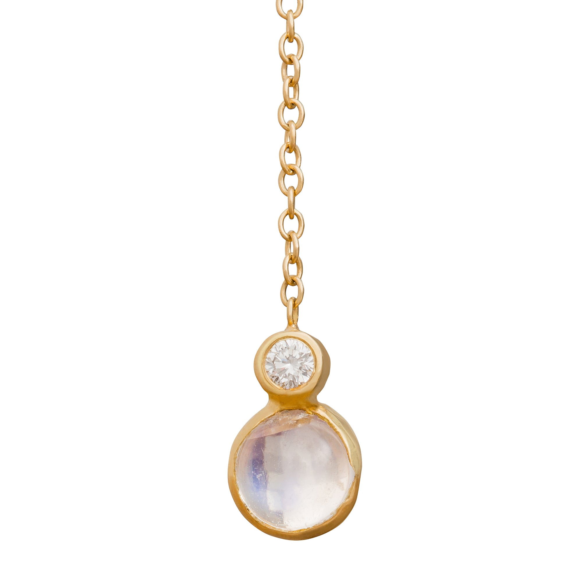 Moonstone Lariat Necklace - Katey Walker - Necklaces | Broken English Jewelry