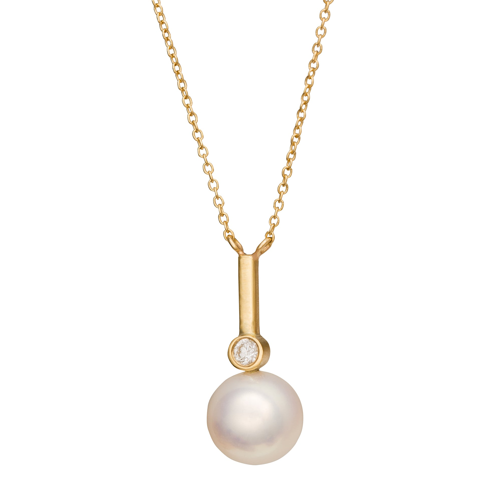 Pearl & Diamond Necklace - Katey Walker - Necklaces | Broken English Jewelry