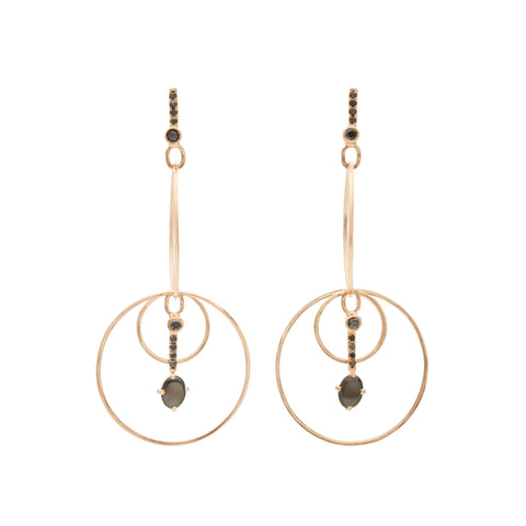 Black Diamond Drop Hoops by Katey Walker for Broken English Jewelry