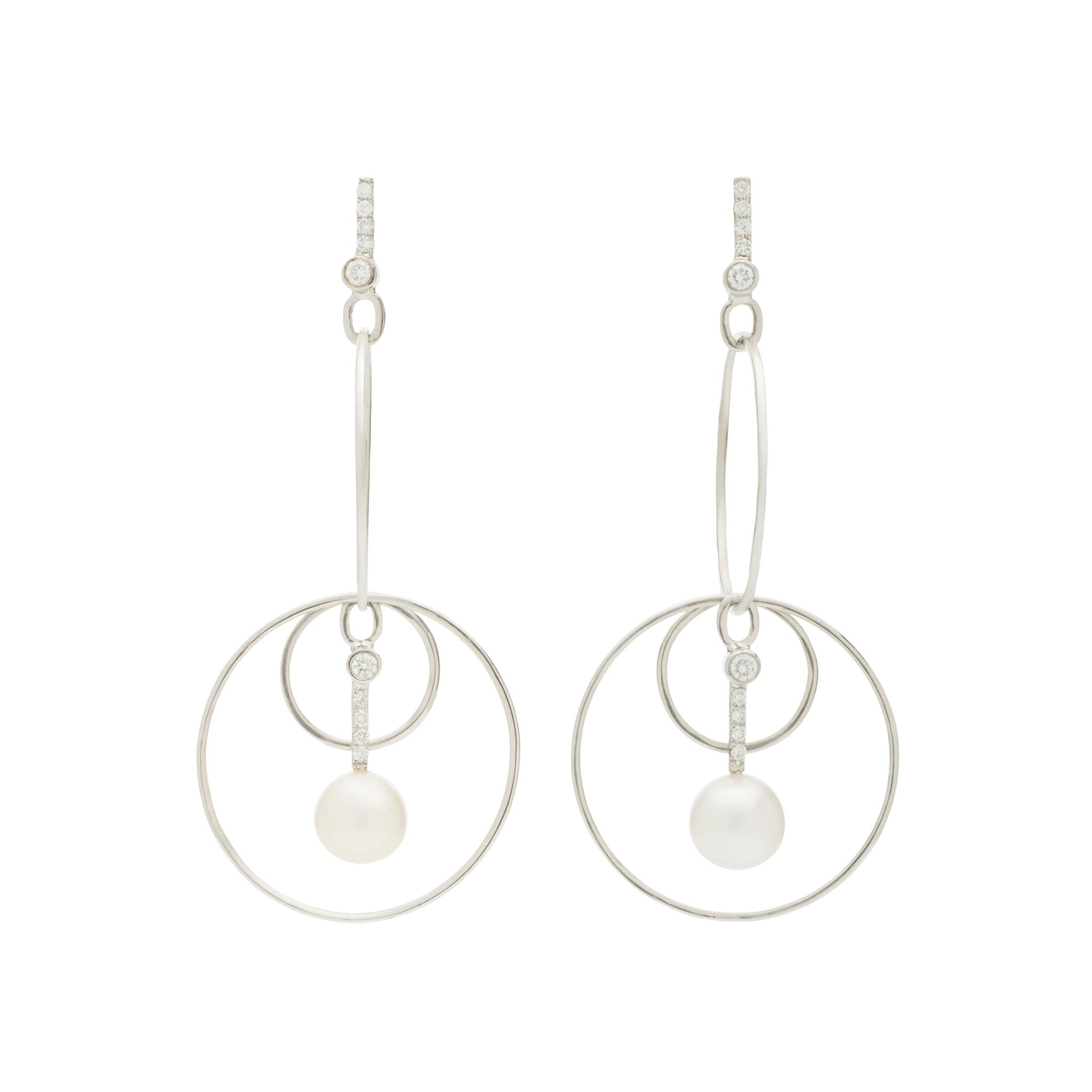 Pearl Drop Hoops by Katey Walker for Broken English Jewelry