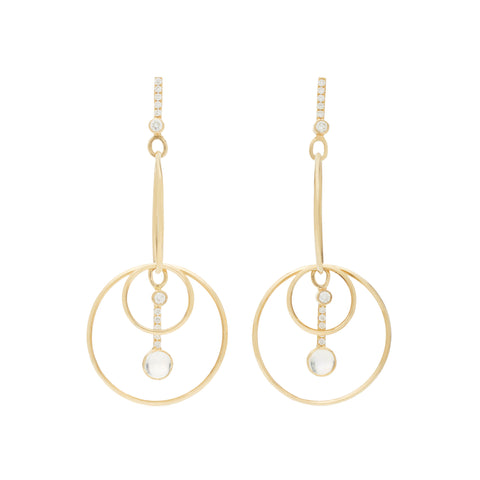 Moonstone Drop Hoops by Katey Walker for Broken English Jewelry