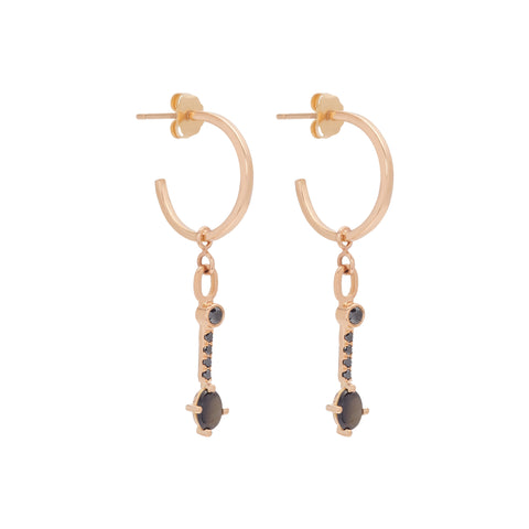 Black Sapphire Hoops by Katey Walker for Broken English Jewelry