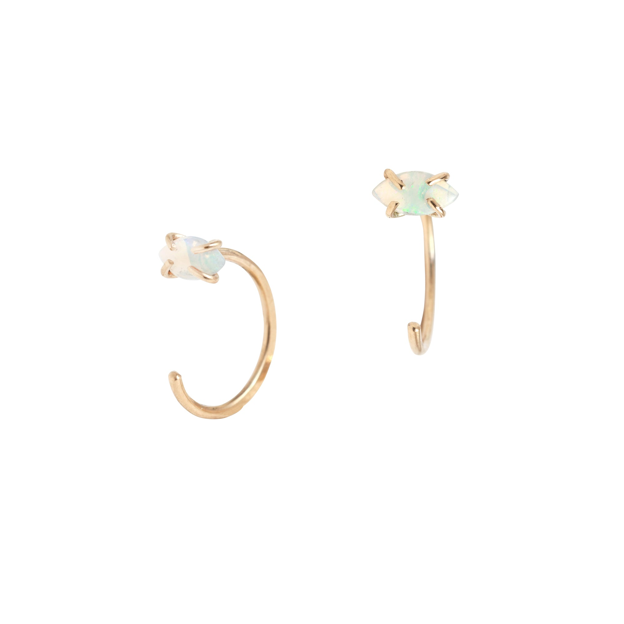 Melissa Joy Manning Huggie Hoops - Marquise Opal - Earrings - Broken English Jewelry