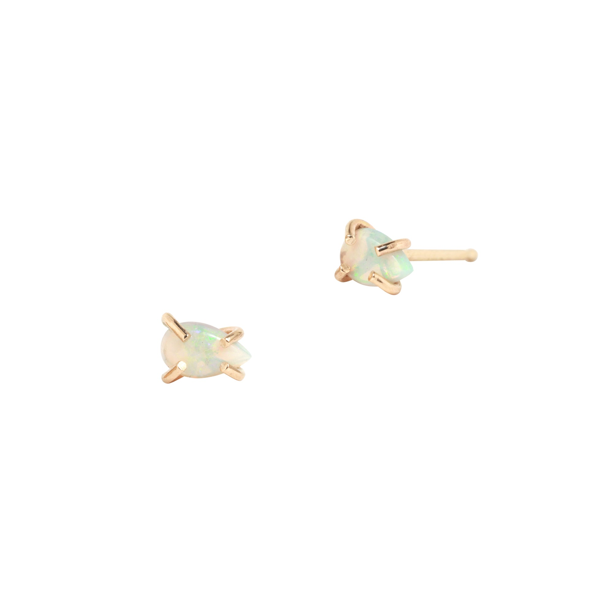Melissa Joy Manning Prong Set Studs - Teardrop Opal - Earrings - Broken English Jewelry