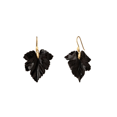 Medium Onyx Fancy Leaf Earrings - Annette Ferdinansen - Earrings | Broken English Jewelry
