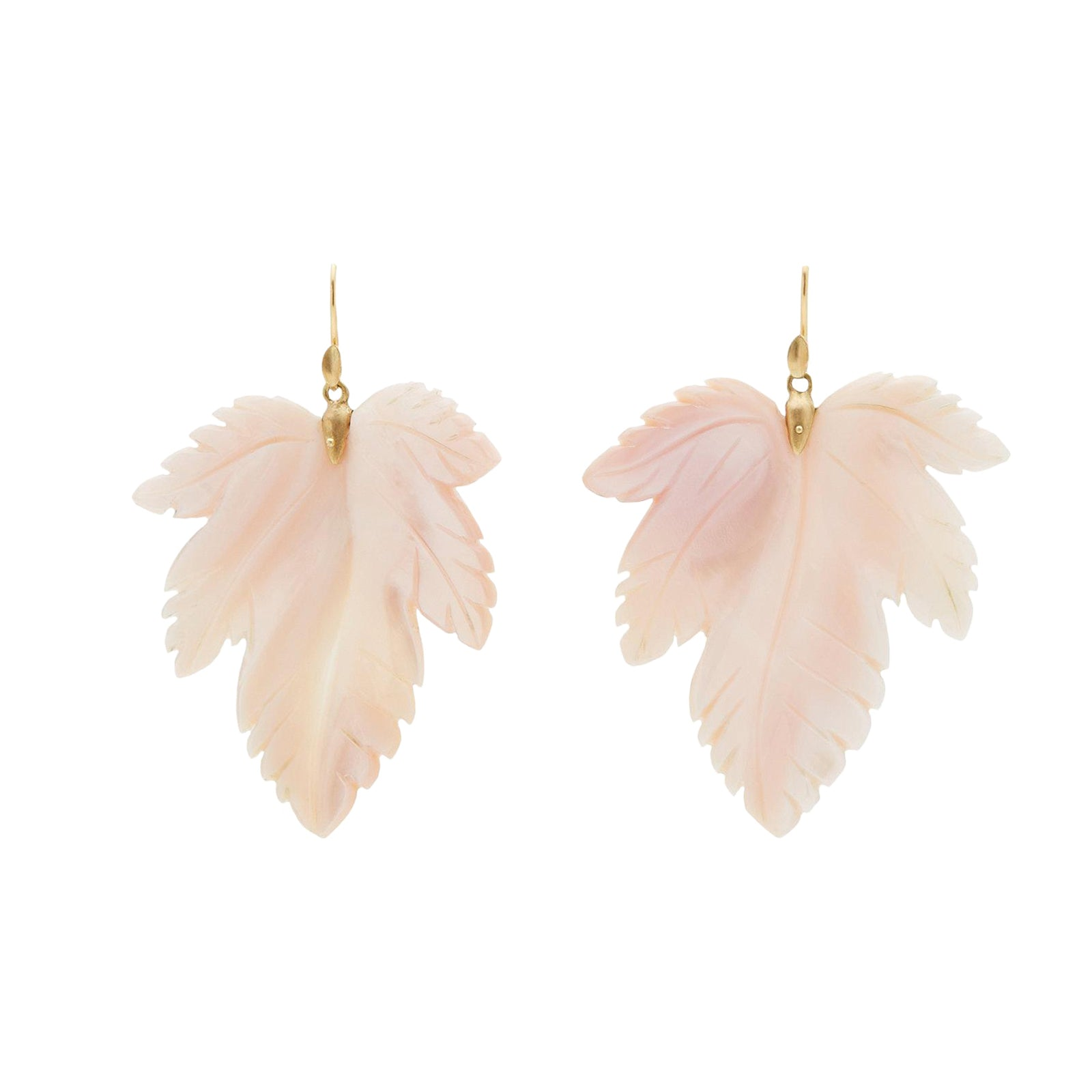 Annette Ferdinandsen Large Mother of Pearl Fancy Leaf Earrings - Earrings - Broken English Jewelry