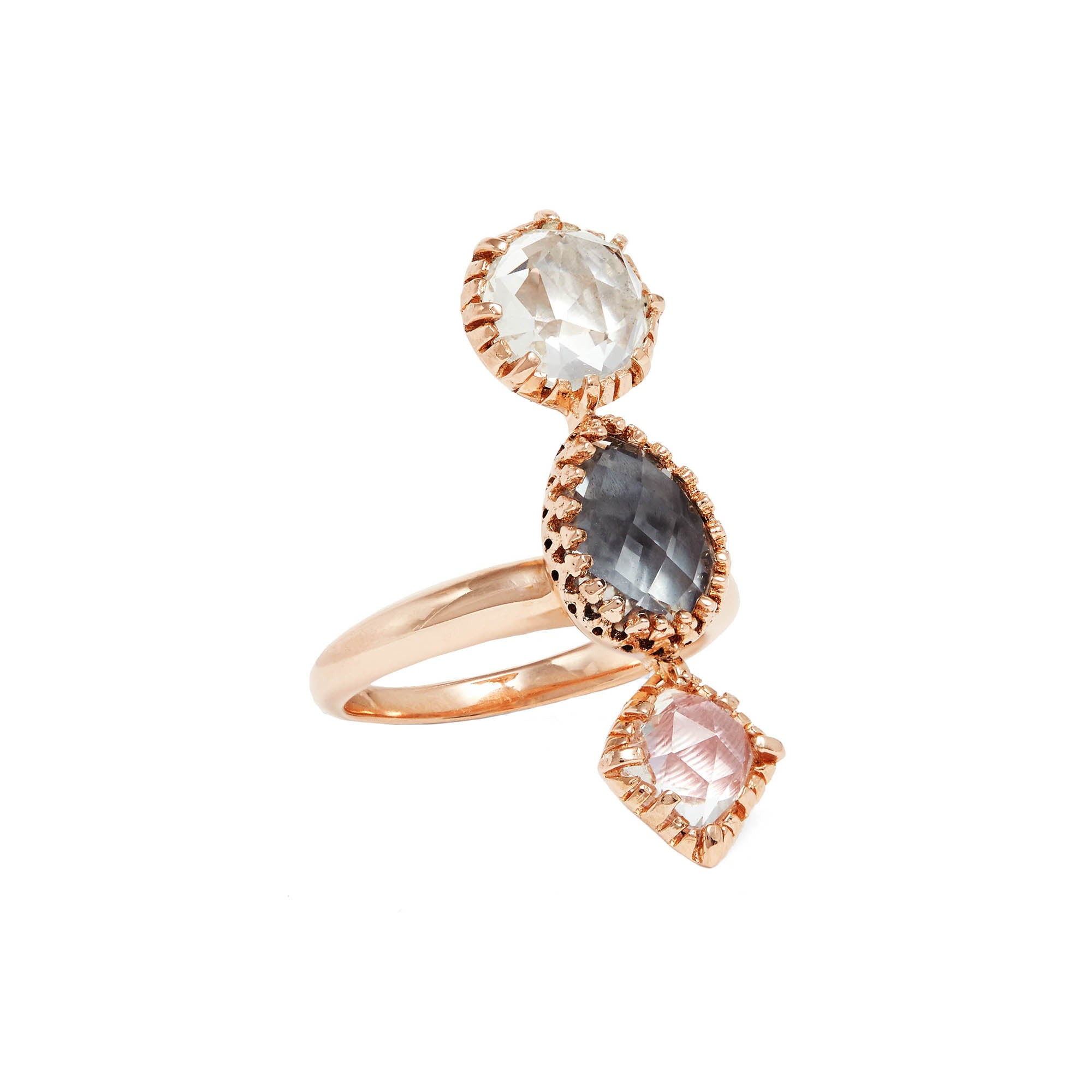 Sadie 3-Stone Ring by Larkspur & Hawk for Broken English Jewelry
