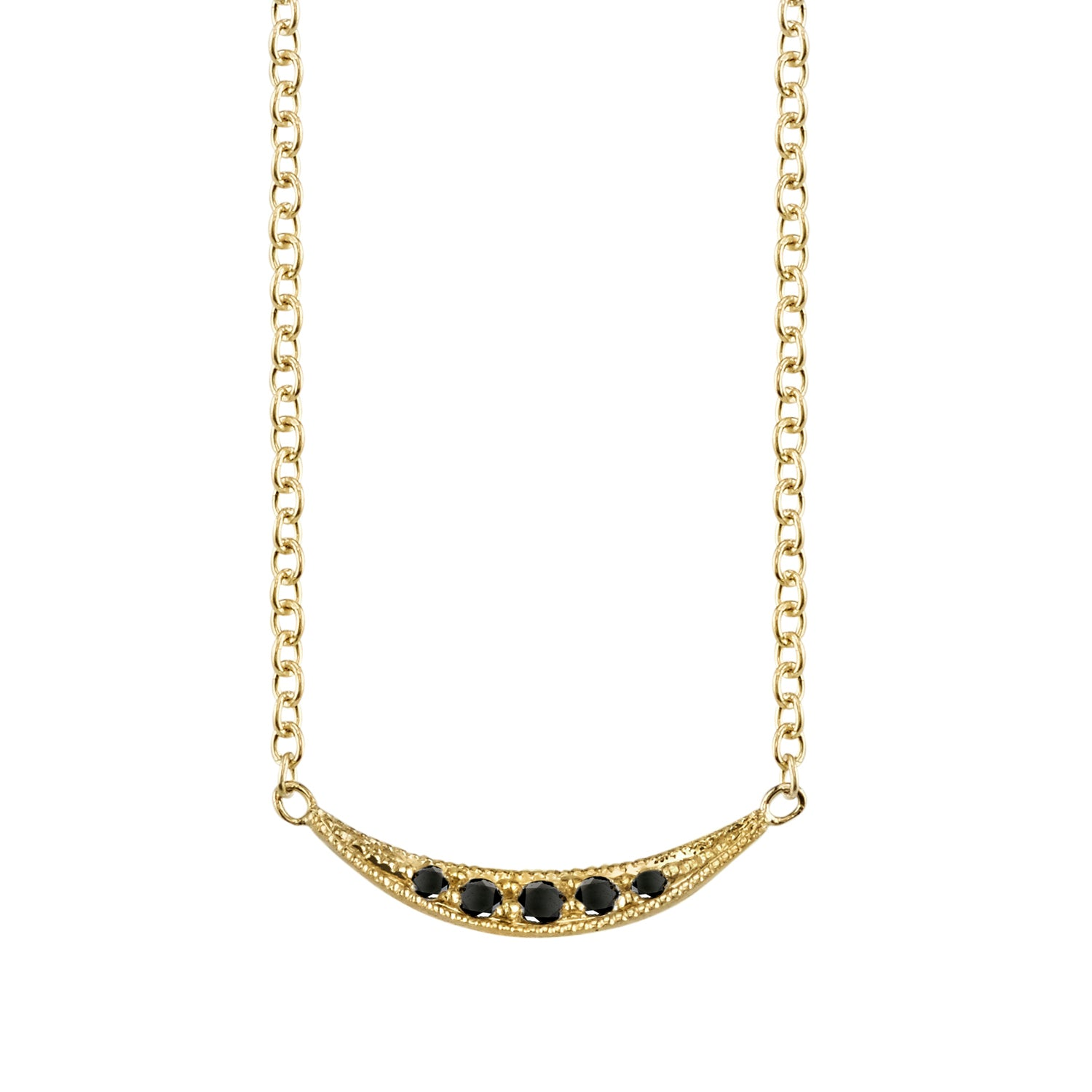 Black Diamond Crescent Necklace by Lizzie Mandler for Broken English Jewelry