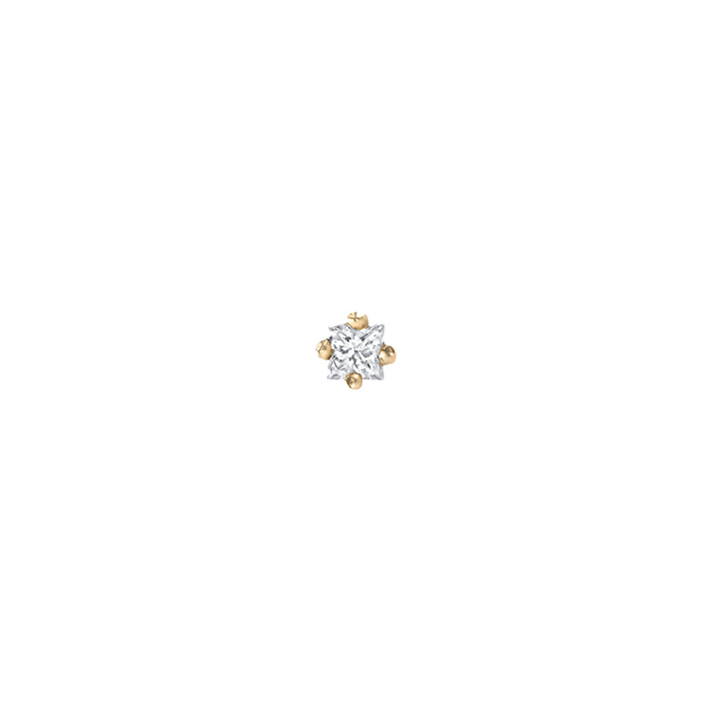 Single Mini Princess Diamond Stud