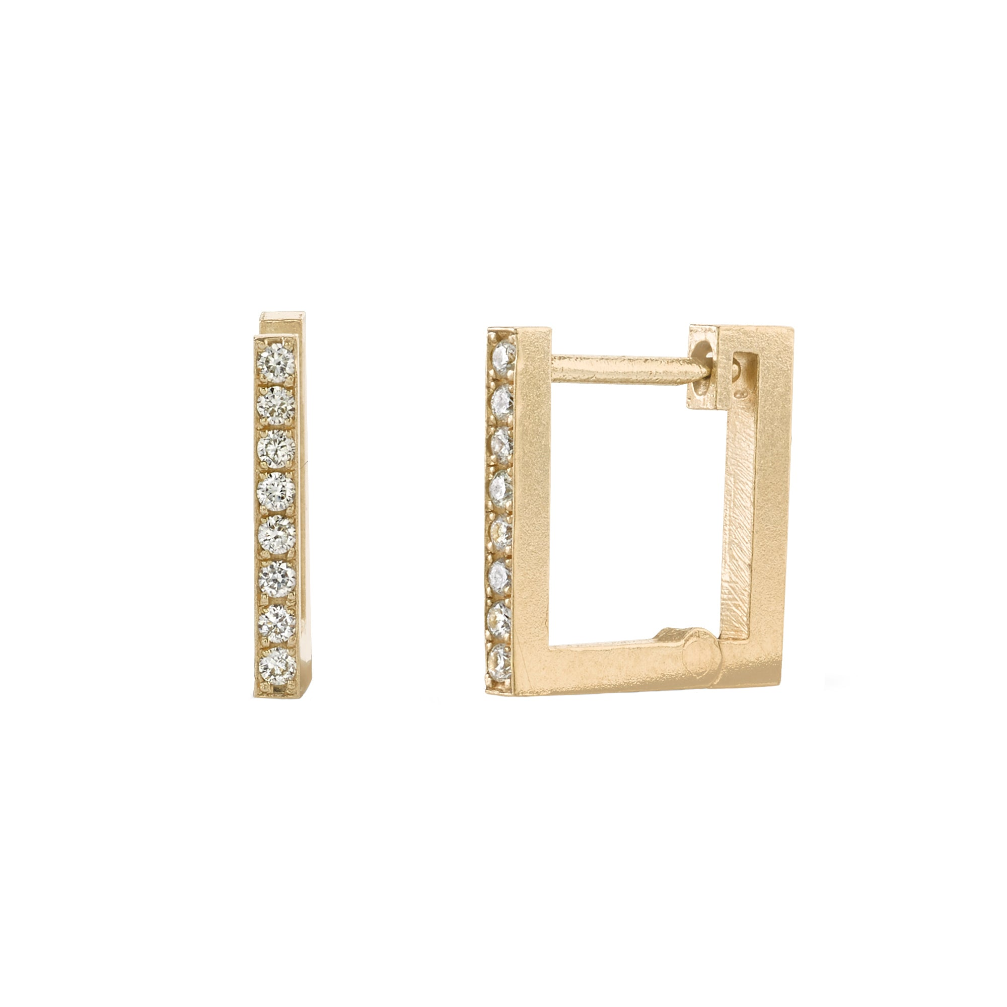 White Diamond Square Huggies by Lizzie Mandler for Broken English Jewelry