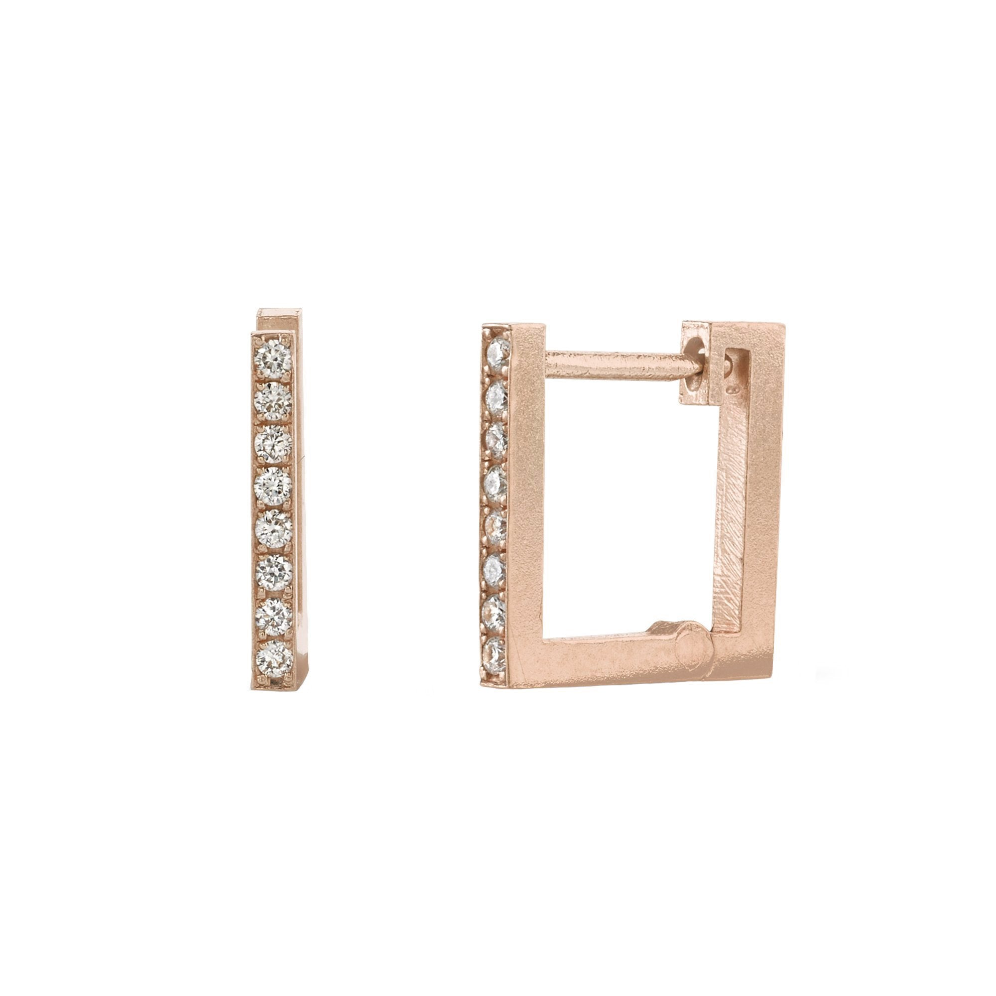 Lizzie Mandler White Diamond Square Huggies - Earrings - Broken English Jewelry