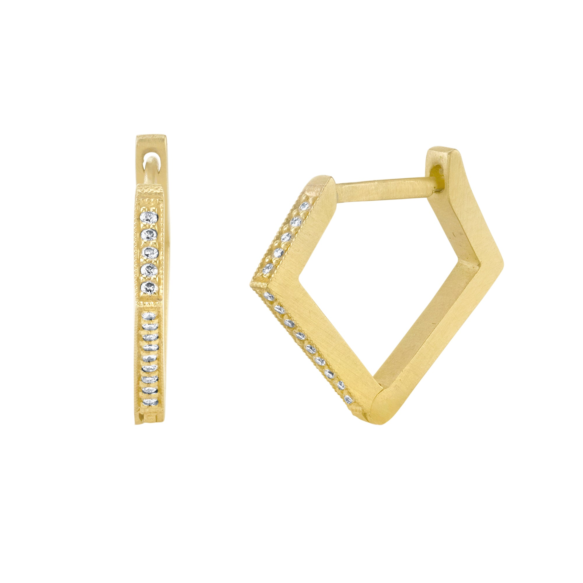Diamond Geometric Huggies by Lizzie Mandler for Broken English Jewelry
