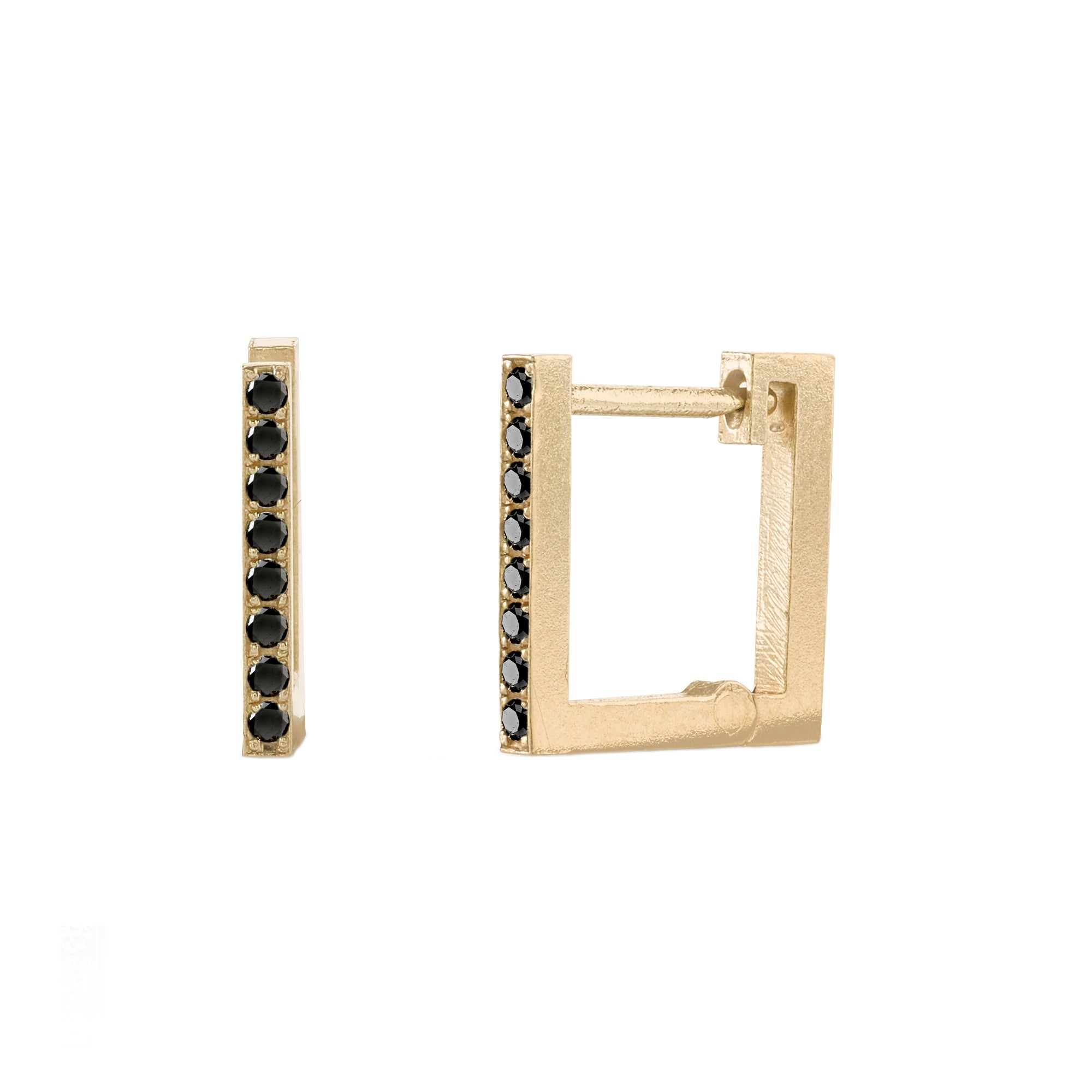 Black Diamond Square Huggies by Lizzie Mandler for Broken English Jewelry