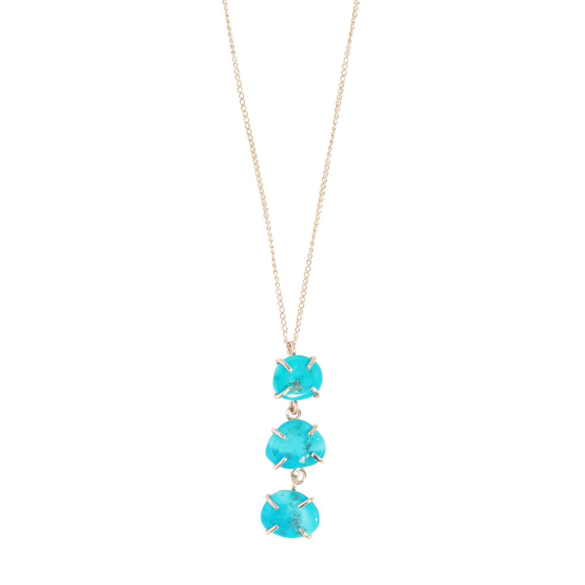 Melissa Joy Manning Three Drop Necklace - Turquoise - Necklaces - Broken English Jewelry
