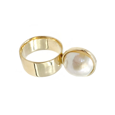 Perched Pearl Ring - Leslie Paige - Rings | Broken English Jewelry