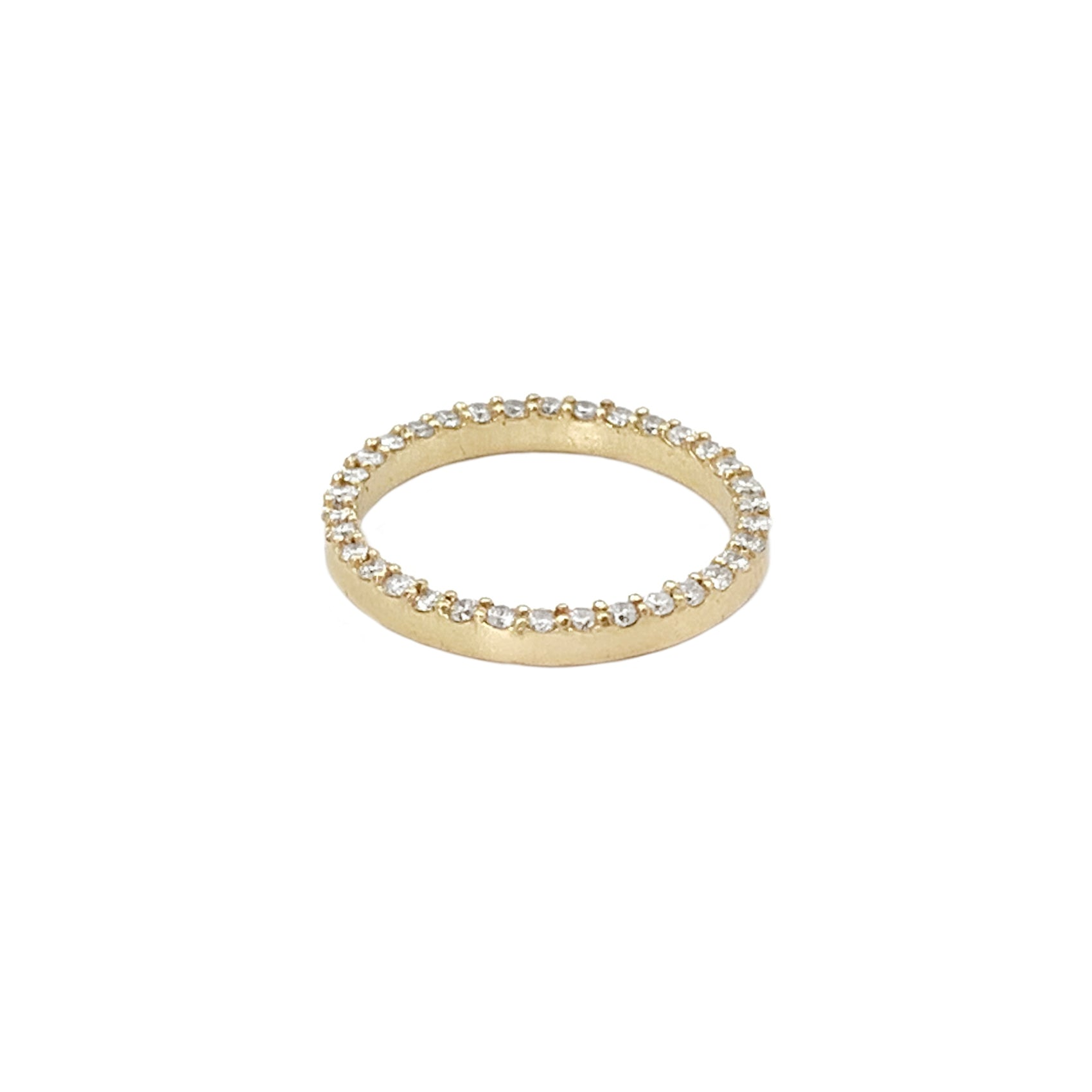 Gold Puzzle Ring with One Band Of Champagne Diamonds Ring by Leslie Paige for Broken English Jewelry