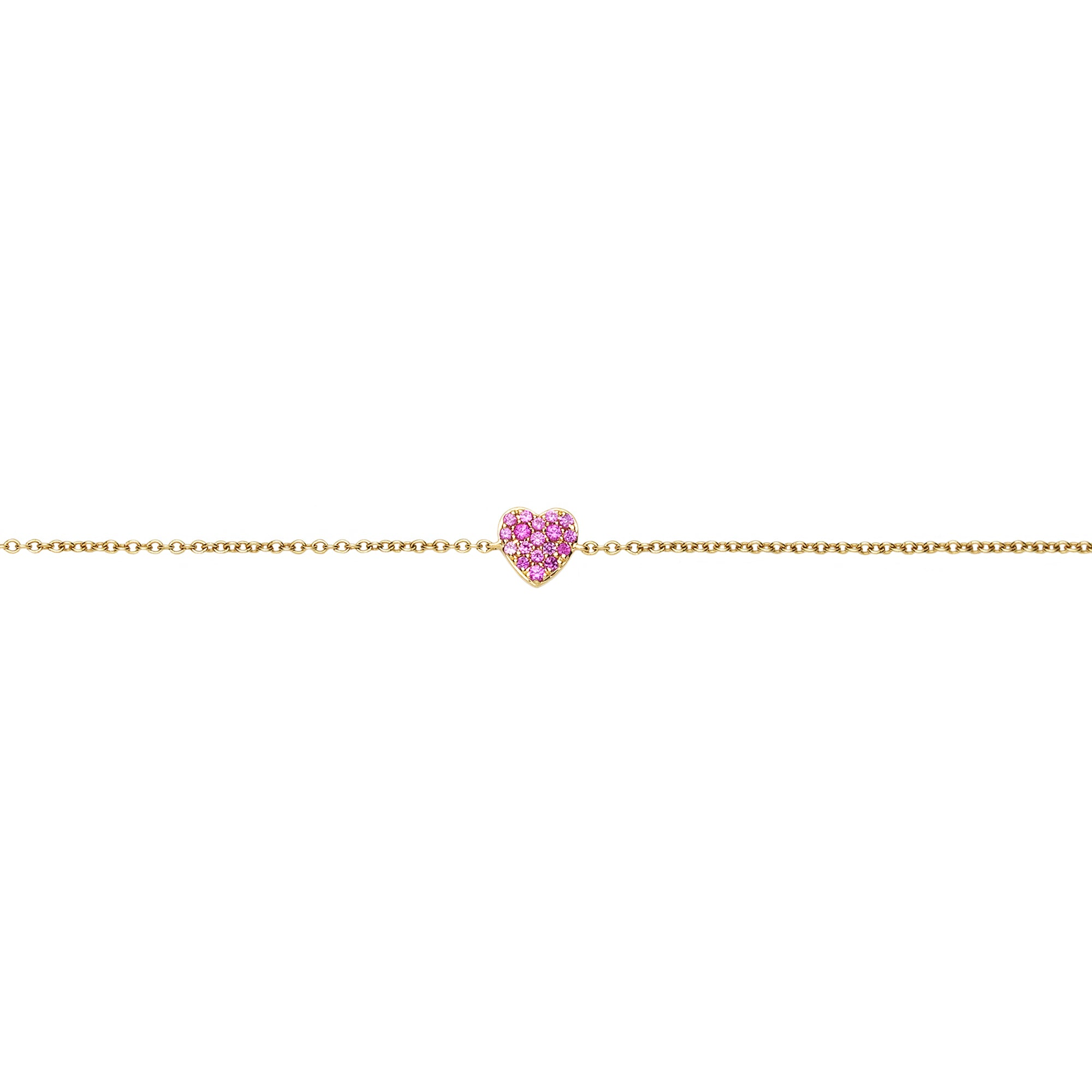 Pink Sapphire Heart Charm Bracelet - Loquet - Bracelet | Broken English Jewelry
