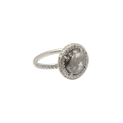 Gold & White Diamond Grey Round Diamond Slice Ring by Loriann Stevenson for Broken English Jewelry