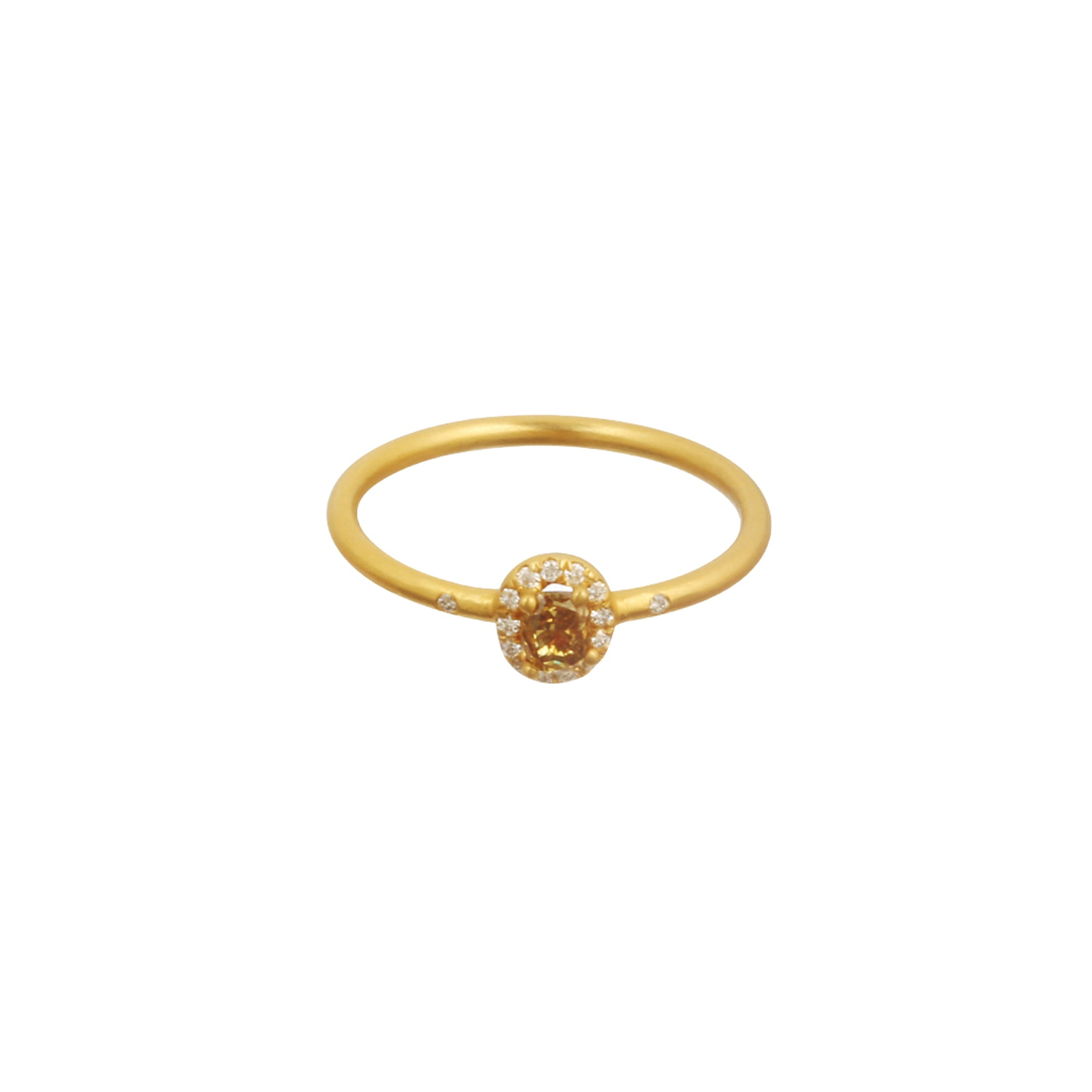 Gold & White Diamond Rose-Cut Diamond Stacking Ring by Loriann Stevenson for Broken English Jewelry