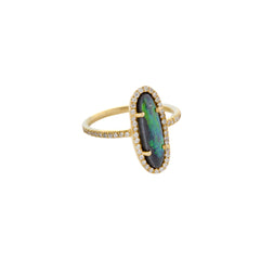 Gold & White Diamond Black Opal Ring by Loriann Stevenson for Broken English Jewelry