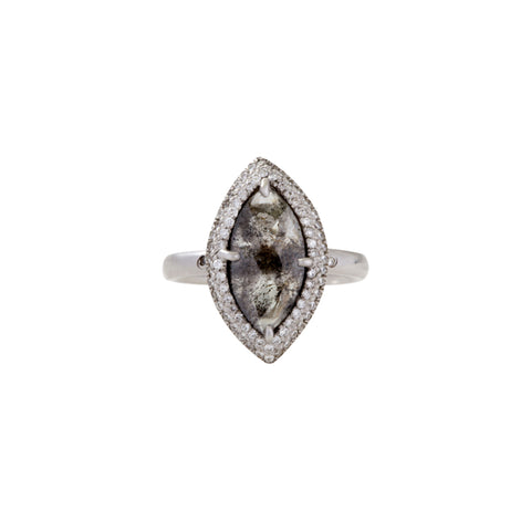 Gold & White Diamond Marquis Diamond Slice Ring by Loriann Stevenson for Broken English Jewelry