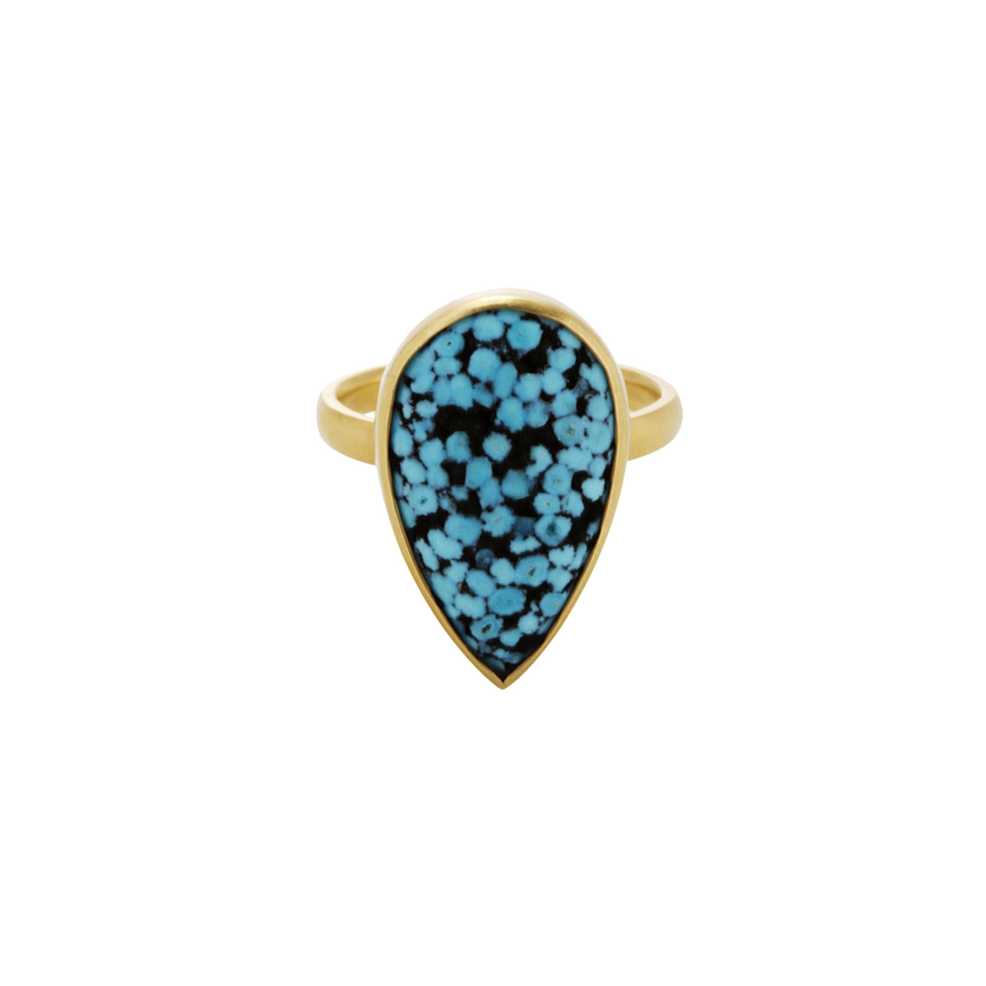 Gold Matrix Turquoise Ring by Loriann Stevenson for Broken English Jewelry