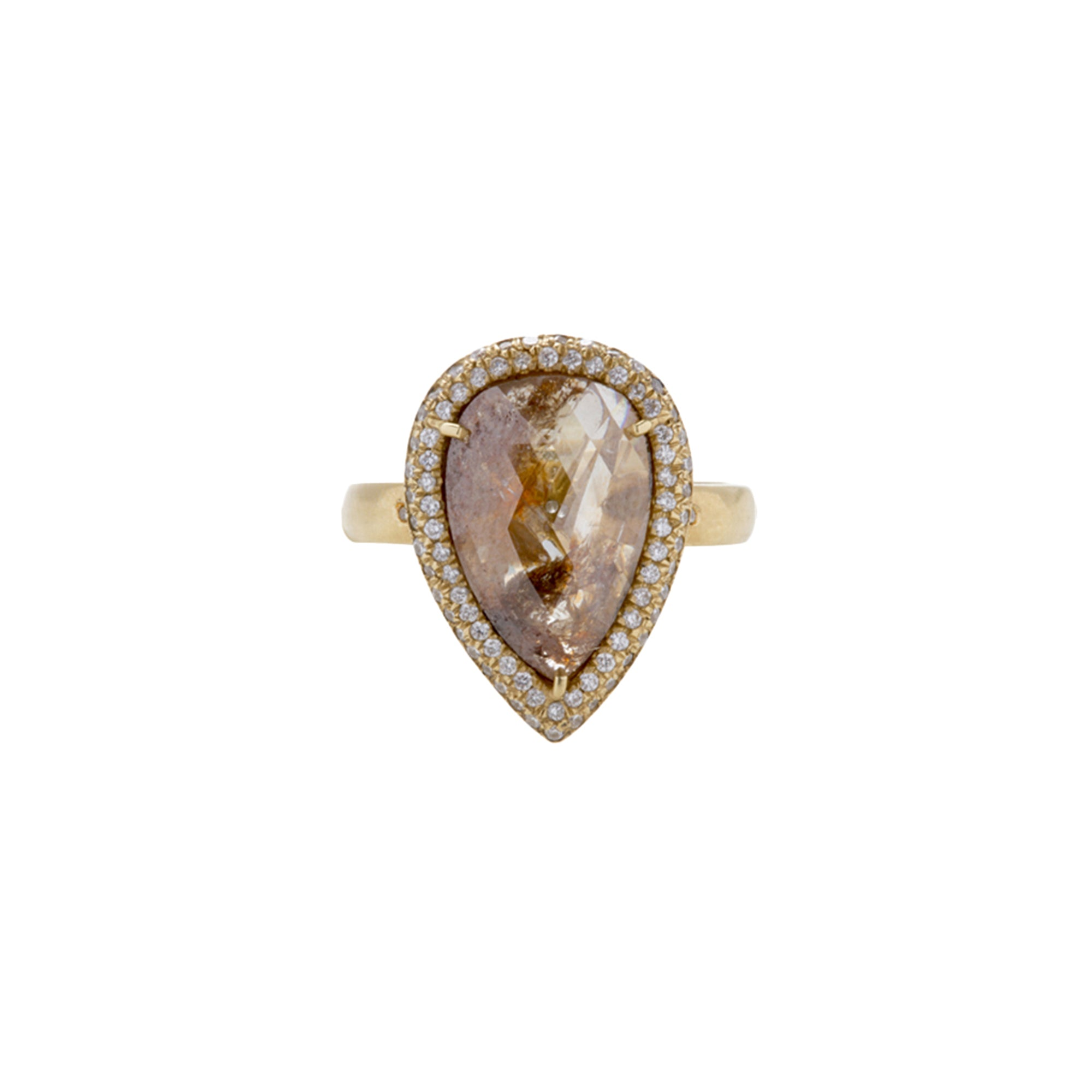 Gold & White Diamond Teardrop Brown Diamond Slice Ring by Loriann Stevenson for Broken English Jewelry