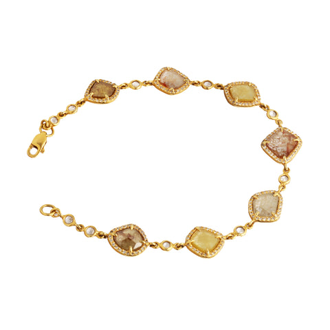 Gold & White Diamond Multicolored Diamond Slice Bracelet by Loriann Stevenson for Broken English Jewelry